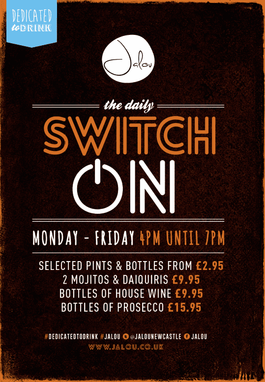 Stay 'Switched On' With Daily Drink Deals At Jalou Newcastle I Love Newcastle