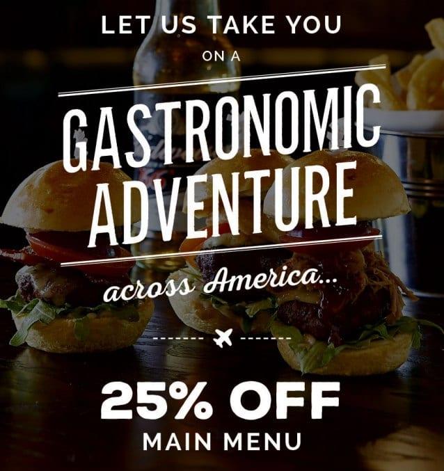 25% off main menu at Coast to Coast Newcastle I Love Newcastle