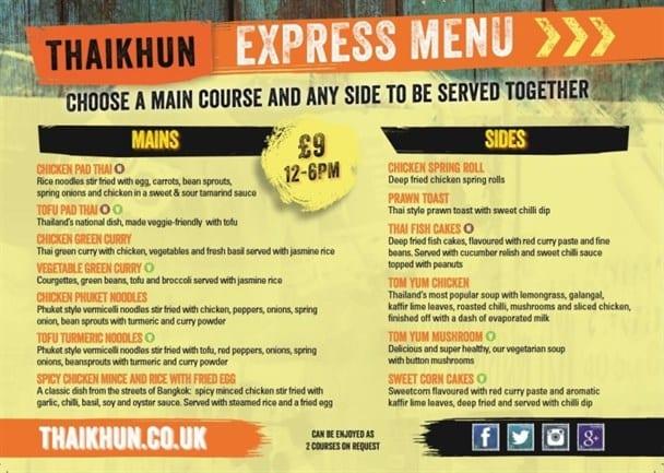 Thaikhun Express Menu has arrived I Love Newcastle
