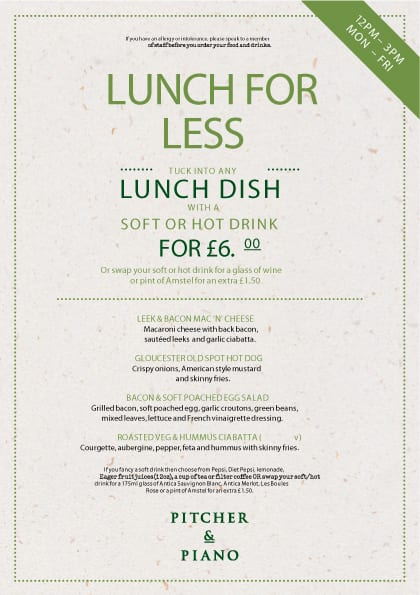 Do 'Lunch For Less' At Pitcher And Piano Newcastle I Love Newcastle