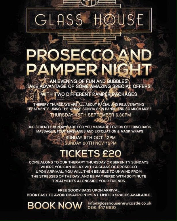 Prosecco And Pamper Nights At Glass House Newcastle I Love Newcastle