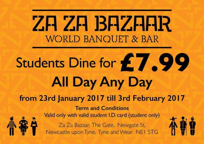 Students dine for only £7.99 at Za Za Bazaar I Love Newcastle
